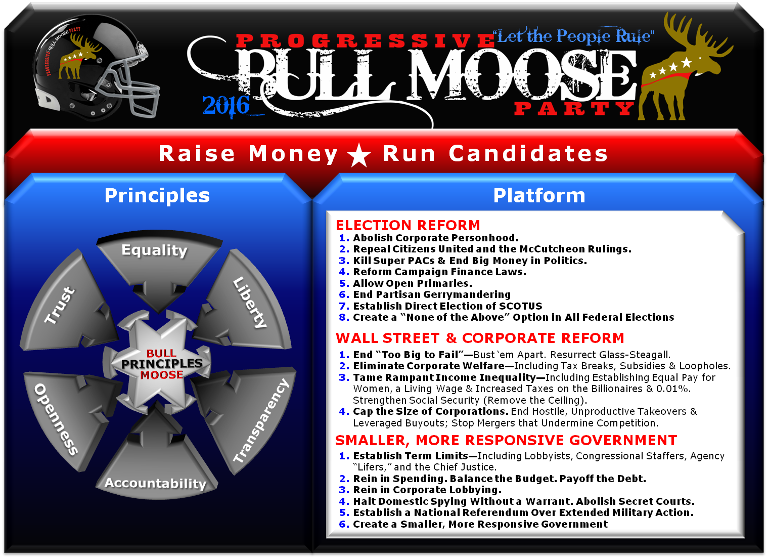"the bull moose party The progressive party was a political party in the united states after the progressive party's most well-known candidate, theodore roosevelt, said the phrase, i'm feeling like a bull moose, the party was often referred to as the bull moose party [1] "" the conscience of the people, in a time of."